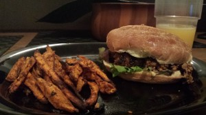 seekh kabab burger and sweet potato fries